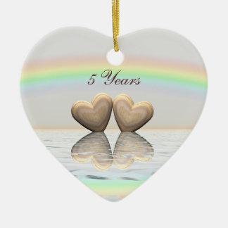 5to Corazones de madera del aniversario Adorno Navideño De Cerámica En Forma De Corazón
