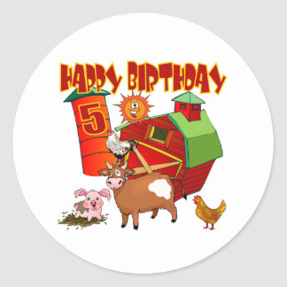 5to Cumpleaños de la granja del cumpleaños Pegatina Redonda