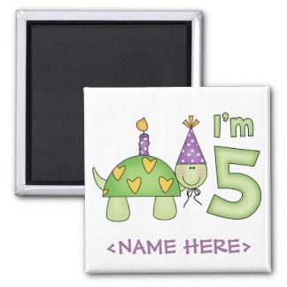 5to cumpleaños de la pequeña tortuga imán cuadrado