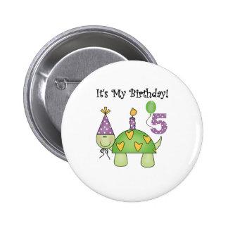 5to cumpleaños de la tortuga pin redondo 5 cm