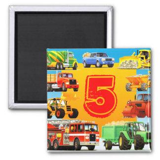 5to cumpleaños de los camiones grandes imán cuadrado