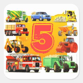 5to cumpleaños de los camiones grandes pegatina cuadrada