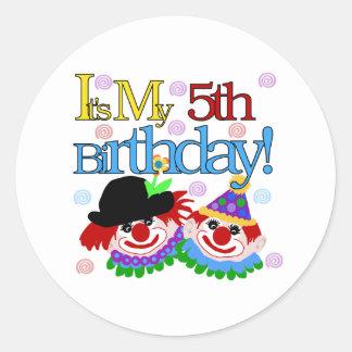 5to cumpleaños de los payasos tontos etiquetas redondas