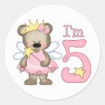 5to cumpleaños de princesa Bear Pegatina Redonda