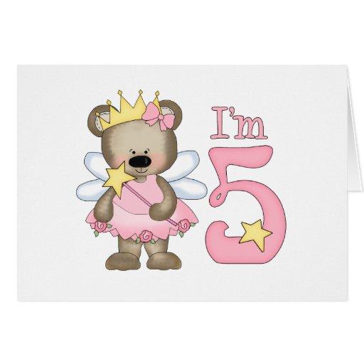 5to cumpleaños de princesa Bear Tarjeta