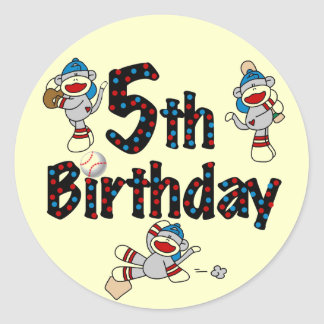 5to Cumpleaños del béisbol del mono del calcetín Pegatina Redonda
