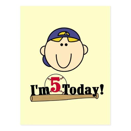 5to cumpleaños del béisbol rubio del muchacho postal