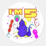 5to Cumpleaños del dinosaurio del cumpleaños Pegatinas Redondas