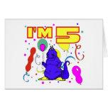 5to Cumpleaños del dinosaurio del cumpleaños Tarjeta
