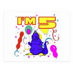 5to Cumpleaños del dinosaurio del cumpleaños Tarjeta Postal