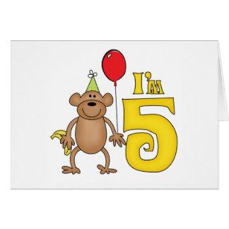 5to cumpleaños del mono divertido tarjeta pequeña