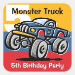 5to cumpleaños del monster truck pegatina cuadradas personalizada