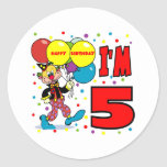 5to Cumpleaños del payaso del cumpleaños Pegatinas Redondas