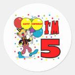 5to Cumpleaños del payaso del cumpleaños Pegatinas