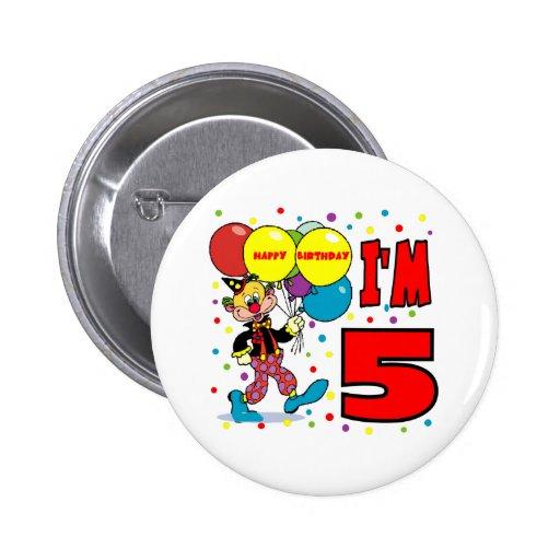 5to Cumpleaños del payaso del cumpleaños Pins