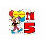 5to Cumpleaños del payaso del cumpleaños Postal