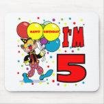 5to Cumpleaños del payaso del cumpleaños Alfombrillas De Ratones