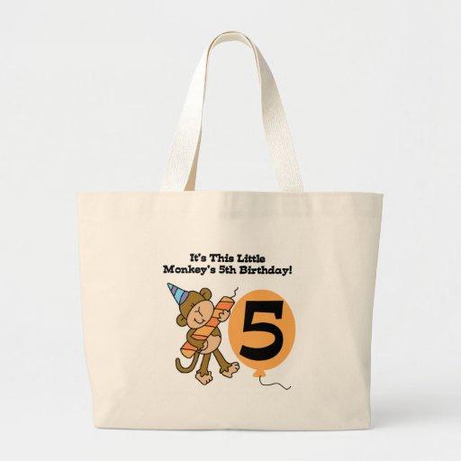 5to cumpleaños del pequeño mono bolsa tela grande