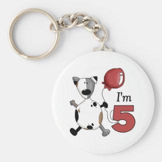 5to Cumpleaños del perrito del cumpleaños Llavero Redondo Tipo Pin