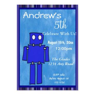 """5to cumpleaños del robot invitación 5"""" x 7"""""""