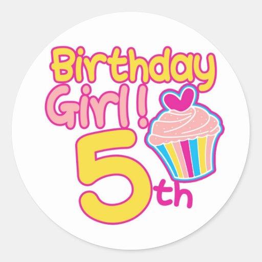 ¡5to cumpleaños feliz! etiqueta redonda