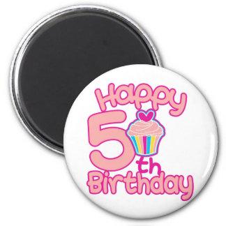 ¡5to cumpleaños feliz! imán redondo 5 cm