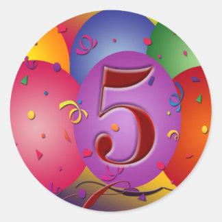 5to Decoraciones del globo de la fiesta de Pegatina Redonda