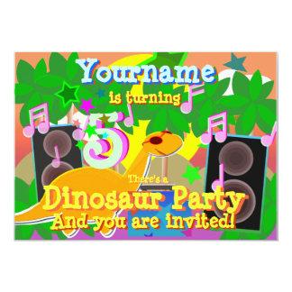 5to El dinosaurio fresco DJ del cumpleaños va de Invitación 12,7 X 17,8 Cm