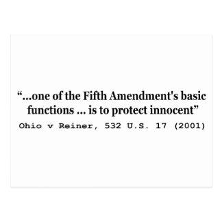 5to Enmienda Ohio v Reiner los 532 E.E.U.U. 17 Postal