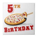5to Fiesta de la pizza del cumpleaños Azulejos Ceramicos