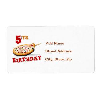 5to Fiesta de la pizza del cumpleaños Etiqueta De Envío