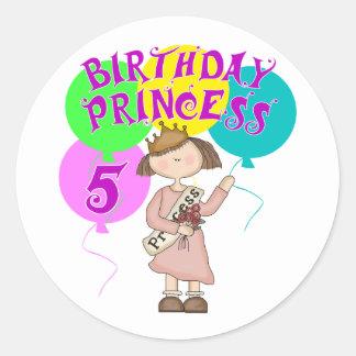 5to Fiesta de la princesa cumpleaños del Pegatina Redonda