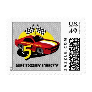 5to franqueo del cumpleaños del coche de carreras timbres postales
