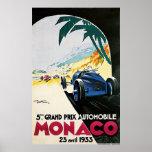 5to Grand Prix de Mónaco, poster 1933 del vintage