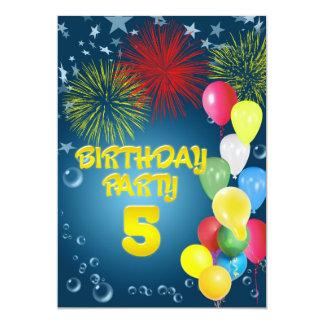 5to Invitación de la fiesta de cumpleaños con los