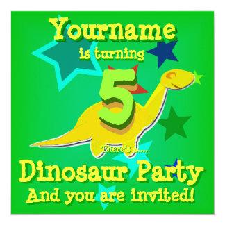 5to Invitaciones del fiesta del dinosaurio del Invitación 13,3 Cm X 13,3cm