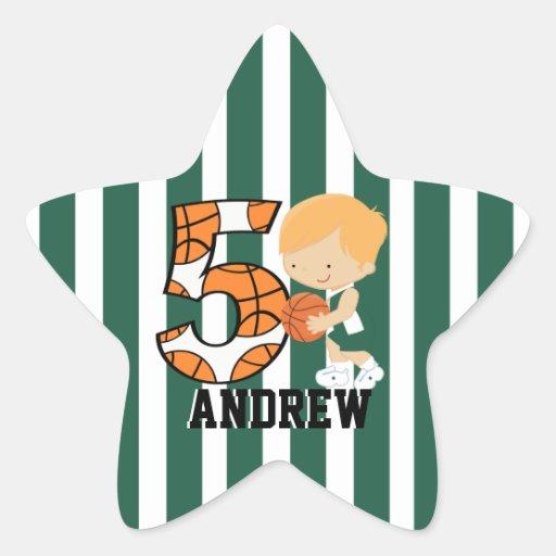 5to Jugador de básquet verde y blanco del cumpleañ Etiquetas
