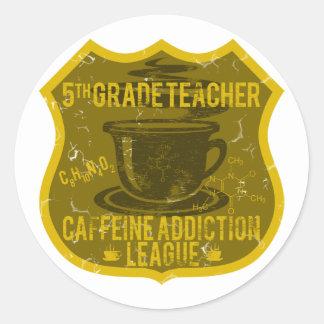 5to Liga del apego del cafeína del grado Pegatina Redonda