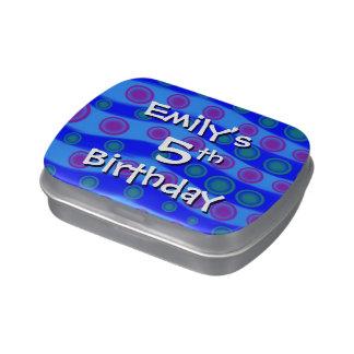 5to Ondas del azul del favor del cumpleaños de la  Latas De Dulces