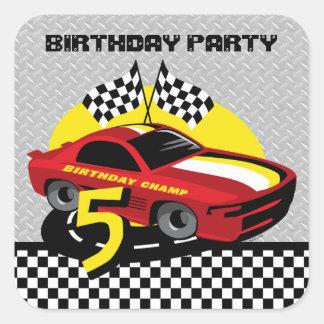 5to pegatina del cumpleaños del coche de carreras