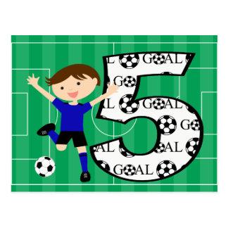 5to Postal azul y negra del cumpleaños del fútbol