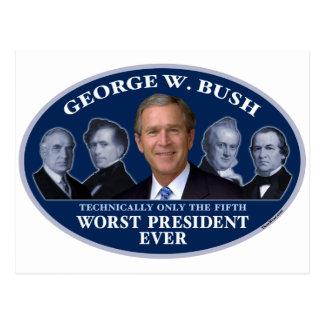 5to presidente peor de George W. Bush Tarjeta Postal