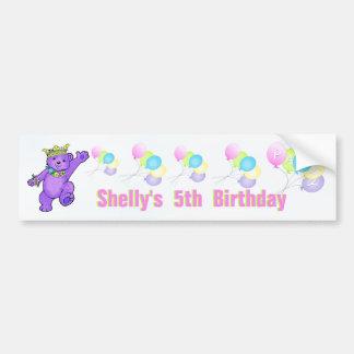5to Princesa púrpura Bear de la fiesta de cumpleañ Etiqueta De Parachoque