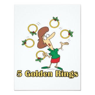 "5to quinto día de oro de cinco anillos de oro de invitación 4.25"" x 5.5"""