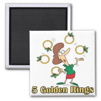 5to quinto día de oro de cinco anillos de oro de n imán cuadrado