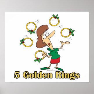 5to quinto día de oro de cinco anillos de oro de n posters