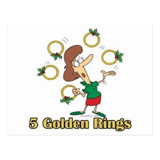 5to quinto día de oro de cinco anillos de oro de n postal