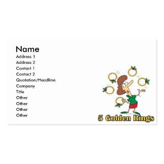 5to quinto día de oro de cinco anillos de oro de tarjetas de visita