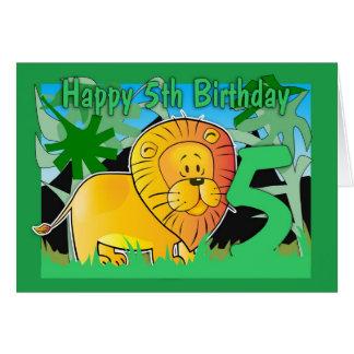 5to Tarjeta de cumpleaños - león
