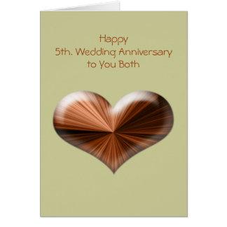 5to Tarjeta de felicitación del aniversario de